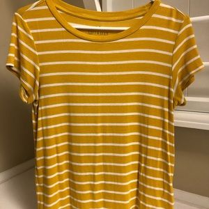 American Eagle Yellow and White striped shirt
